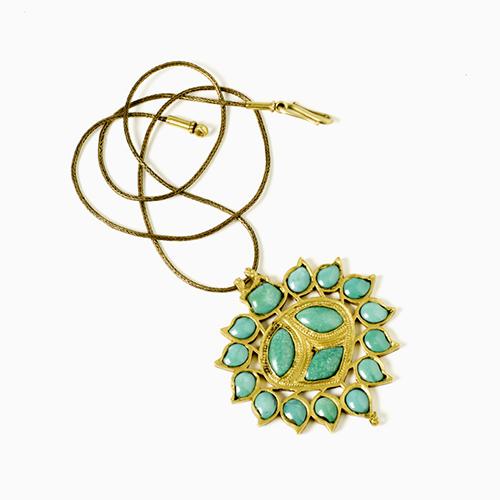 Pendente in oro e turchese Rajastan