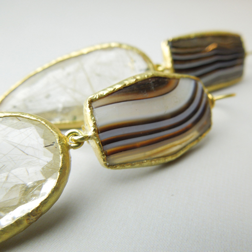 Agate and quarz earrings